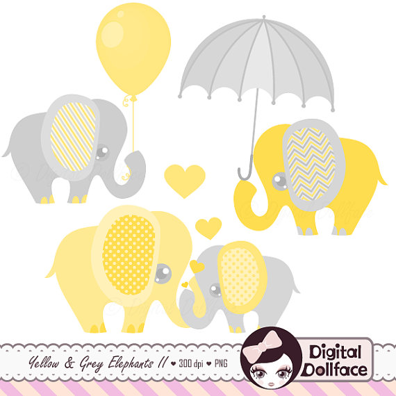 Elephant Baby Shower Clipart, Baby And M-Elephant Baby Shower Clipart, Baby and Mommy, Elephant with Balloon / Umbrella Clip Art-8