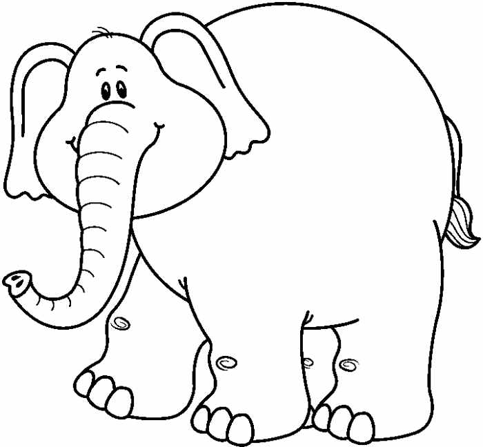 Elephant black and white clipart