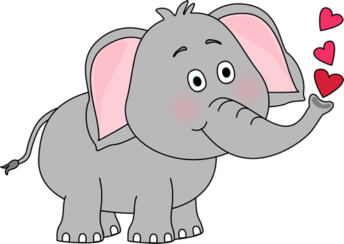 Elephant Blowing Hearts - Elephants Clipart
