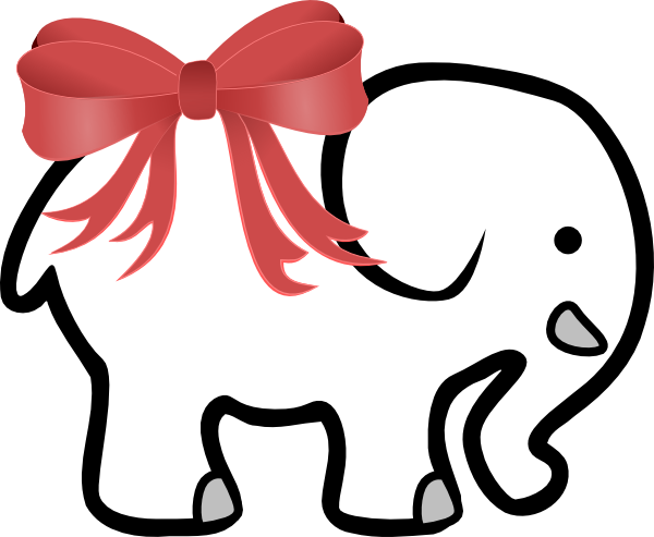 Elephant Clipart Black and . White Elephant With Red Bow .