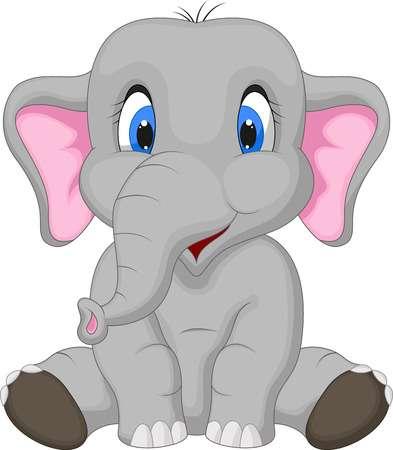 Cute Elephant Cartoon Sitting Illustrati-Cute elephant cartoon sitting Illustration-6