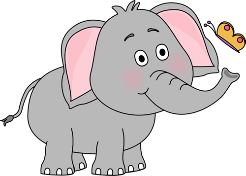 elephant clipart. Elephant and Butterfly