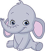 Elephant silhouette; Baby ele - Elephant Clipart