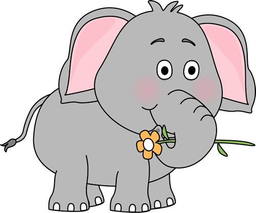 Elephant with a Flower Clip Art Image - elephant holding a flower with .