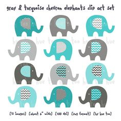 Elephants Clip Art, Boys Chevron Elephan-elephants clip art, boys chevron elephant clipart, gray blue aqua turquoise, cute images for invitations baby shower birthday download 067-15