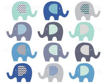elephants clip art, chevron elephant clipart, gray blue aqua turquoise, cute images for invitations, invites, instant download - 027