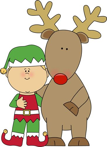 Elf and Reindeer clip art image for teachers, classroom lessons, educators, school, print, scrapbooking and more.