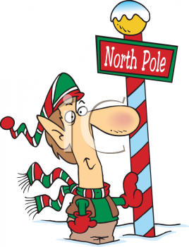 Elf Standing by the North Pole Sign - Royalty Free Clip Art Illustration