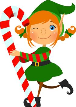 Elf With Candycane Clip Art