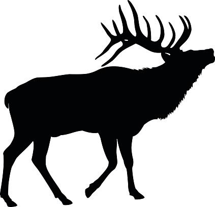 Elk Deer Silhouette vector art .-Elk Deer Silhouette vector art .-9