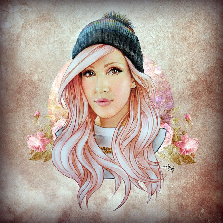 Ellie Goulding by Will Costa Illustration- coloured pencil