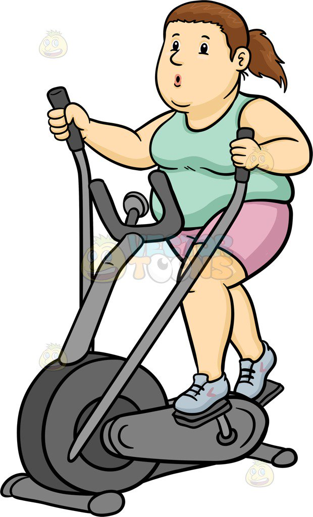 A Fat Woman Using An Elliptical Machine-A fat woman using an elliptical machine-3