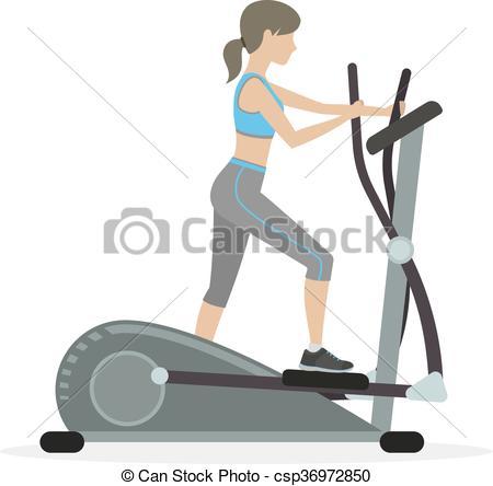 Fitness Girl On The Elliptical Trainer --Fitness girl on the elliptical trainer - csp36972850-10