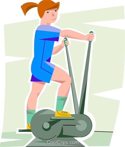 Girl Working Out On A Elliptical Trainer-girl working out on a elliptical trainer Royalty Free Vector Clip Art  illustration vc099879-11