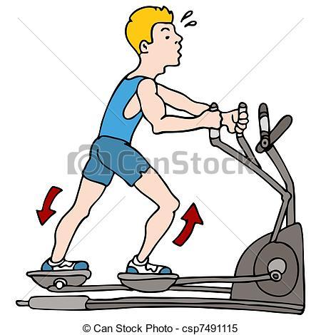 Man Exercising On Elliptical Machine - C-Man Exercising on Elliptical Machine - csp7491115-13