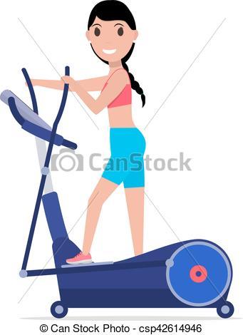 Vector Cartoon Girl On Elliptical Cross -Vector Cartoon Girl On Elliptical Cross Trainer-18