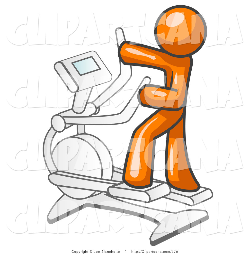 Vector Clip Art Of An Orange Man Working-Vector Clip Art of an Orange Man Working out on a Cross Trainer in a Gym-19