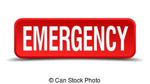 ... Emergency red 3d square button isolated on white background