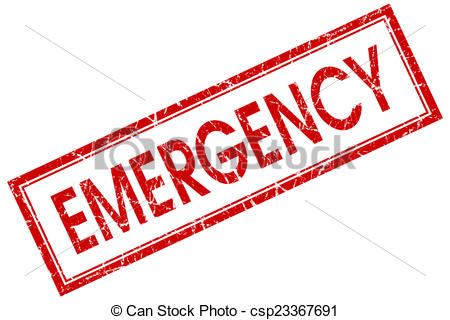 ... emergency red square stamp isolated on white background