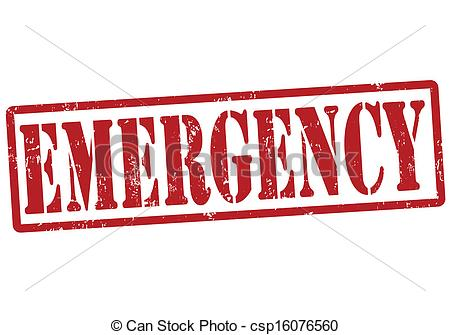 Emergency stamp - Emergency grunge rubber stamp on white,.