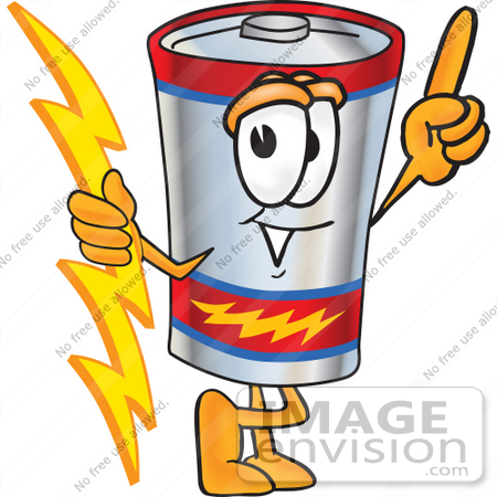 #38171 Clip Art Graphic of a Battery Mascot Character Holding A Bolt Of  Energy And