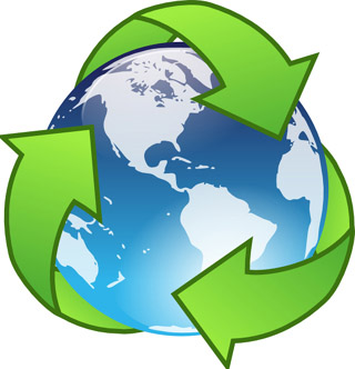 Earth encompassed by recycling symbol.