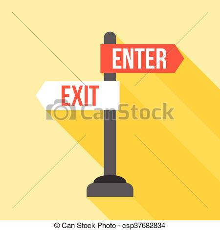 enter and exit sign post direction - csp37682834