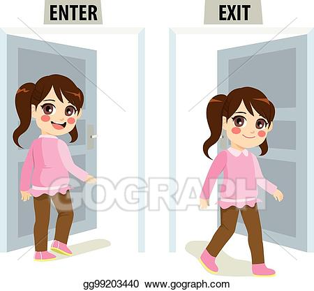 Girl Enter Exit Door