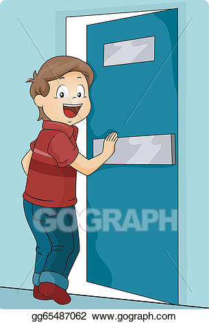 Kid Boy Pushing a Door To Enter
