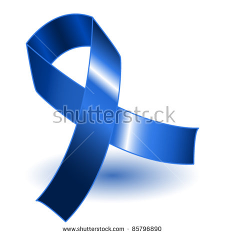 EPS 10: Dark blue awareness ribbon over a white background with drop shadow, simple