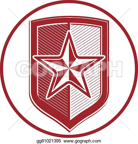 EPS Illustration - Military shield with -EPS Illustration - Military shield with pentagonal comet star, protection heraldic sheriff blazon. army symbol, sheriff badge. Vector Clipart gg81021395-15