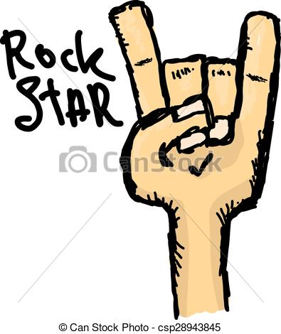 EPS Vector of vector doodle hand sign rock n roll music on white .