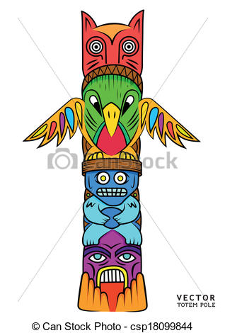 Eps Vector Of Vector Totem Pole A Bright And Colourful Totem Pole