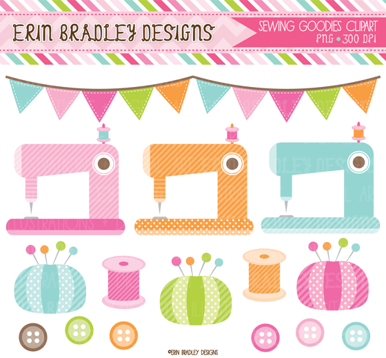 Erin Bradley Designs: New Sewing Clipart, Digital Papers