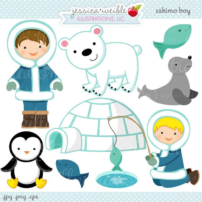 Eskimo Boy Cute Digital Clipart - Commercial Use OK - Eskimo Graphics, Eskimo Clipart, Igloo, Fishing