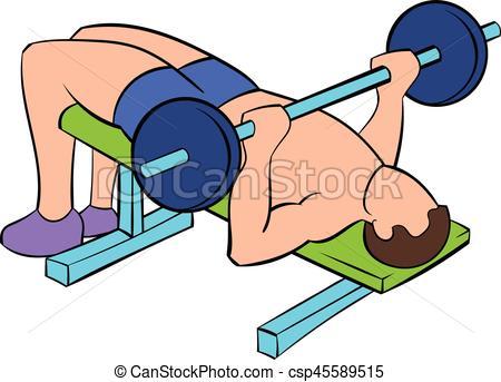 Men Training On The Bench Press Icon Car-Men training on the bench press icon cartoon - csp45589515-15