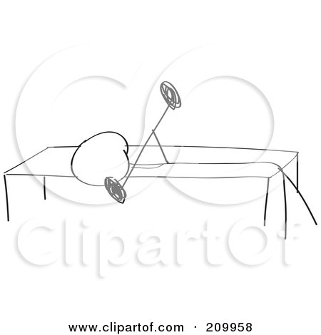 Royalty-Free (RF) Clipart Illustration O-Royalty-Free (RF) Clipart Illustration of a Stick Fitness Character Doing A  Bench Press Exercise by Clipart Girl-16