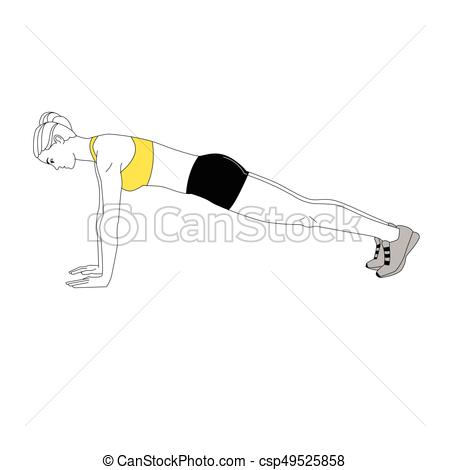 The Girl Is Doing Sports Exercises Bench-The Girl Is Doing Sports Exercises Bench Press Isolated On White  Background. Vector Illustration.-17