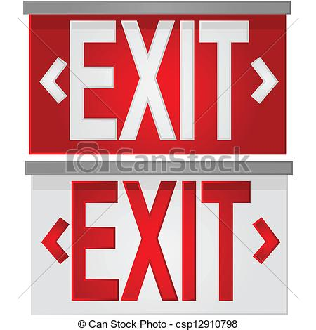 ... Exit Signs - Glossy Illustration Sho-... Exit signs - Glossy illustration showing a white exit sign.-12