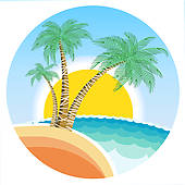 Exotic tropical island with palms and su-Exotic tropical island with palms and sun on round symbol-16