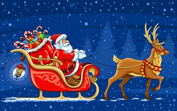 exquisite christmas santa cla - Santa And Reindeer Clip Art