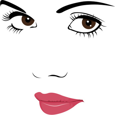 beautiful girl face design vector set
