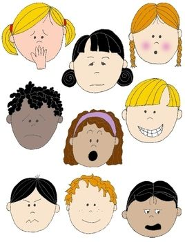 Faces Kids Clip Art Png Feelings and Emotions colored and coloring from Printable Kit on TeachersNotebook