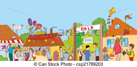 Fair holiday at the town illustration with many people and.