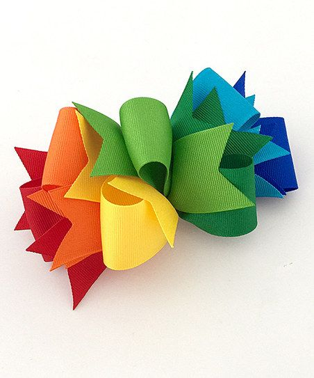 Fairy Bow Mother Rainbow Loopy Spike Bow Clip. good way to use scrap ribbon pieces