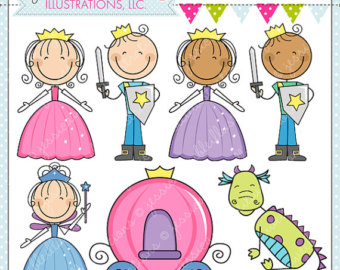Fairy Tale Stick Figures Cute Digital Clipart - Commercial Use OK - Fairy Tale Clipart, Princess Stick Figure, Princess Graphics