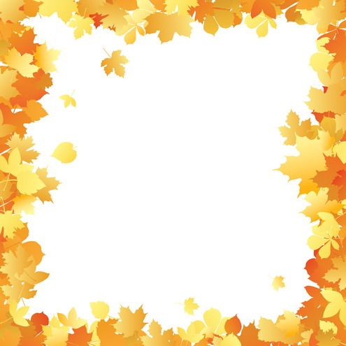 Fall Borders Clip Art | Autumn leaves frame in different color tints. Useful as ecard