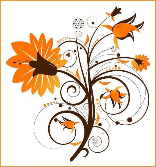 Fall Flowers Clip Art | PSP tube download. Floral Swirl Flower clipart. Great for