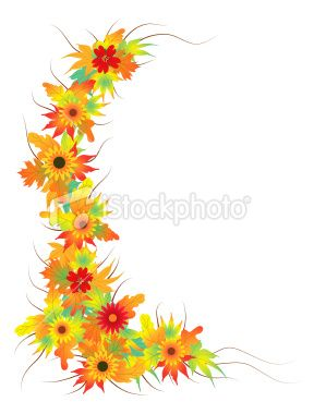 Fall Flowers Clipart | Autumn leaves with flower Royalty Free Stock Vector Art Illustration
