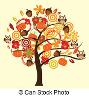 Fall Tree Clip Artby Lilac4/371; Fall Tr-Fall tree Clip Artby lilac4/371; Fall tree - vector tree with fall elements-11